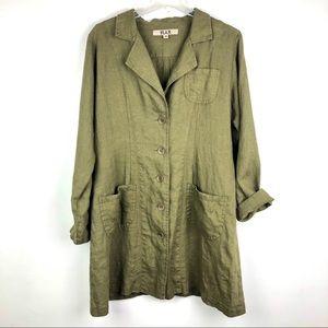 FLAX 5 Button Linen Jacket Dress Olive Green